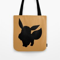 eevee Tote Bags featuring Eevee Silhouette  by Jessica Wray