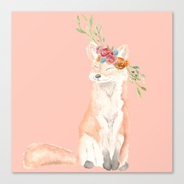 Watercolor fox flower crown peach Canvas Print