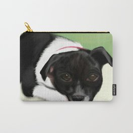 Faithful Black Dog Waiting For the Family Carry-All Pouch