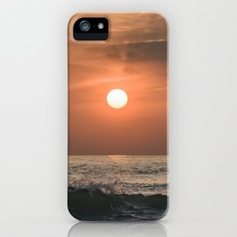 Red sunset in the ocean iPhone Case