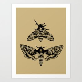Antique Deaths Head Hawk Moth Pointillism Art Print