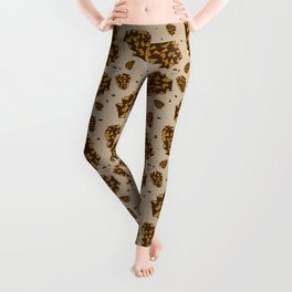 pine cones. abstract pattern of pine cones and nuts Leggings