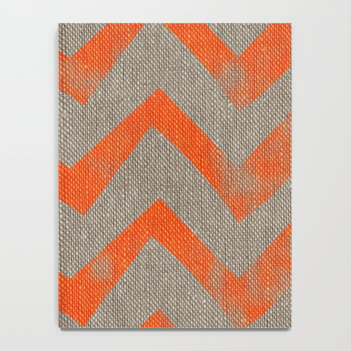 Orange chevron on linen Notebook