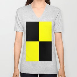 Bright Fluorescent Yellow Neon & Black Checked Checkerboard Unisex V-Neck