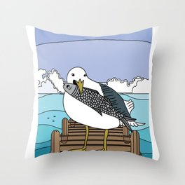 Seagulls Birds In Nature With Fish Throw Pillow