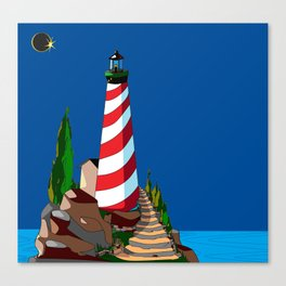 An Eclipse at the Coast with a Lighthouse in Foreground Canvas Print