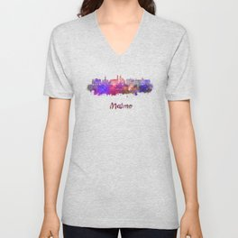 Malmo skyline in watercolor Unisex V-Neck