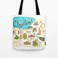cleveland Tote Bags featuring Hipster Cleveland by Emily Jankov