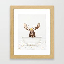 Moose with Rubber Ducky in Vintage Bathtub Framed Art Print