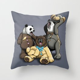 Three Angry Bears Throw Pillow