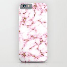 Pink marble abstract pattern with gold glitter iPhone Case