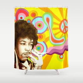 Jimi Hendrix (Peace & Love) Shower Curtain
