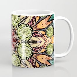 abstract red star hand drawn and kaleidoscope mandala Coffee Mug