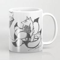 kitsune Mugs featuring Kitsune by Katy Lawler