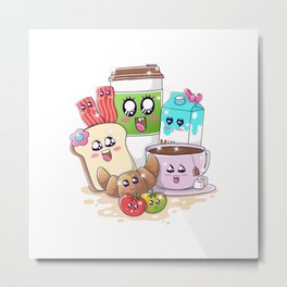 Kawaii Breakfast Metal Print