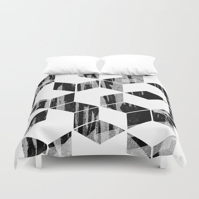 Elegant Black And White Geometric Design Duvet Cover By