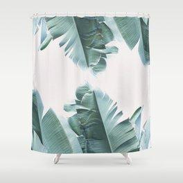 Blue Tropical Banana Leaf Plant Shower Curtain