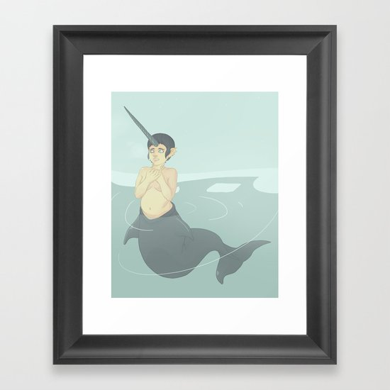 Narwhal Mermaid Framed Art Print