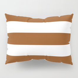 Saddle brown - solid color - white stripes pattern Pillow Sham