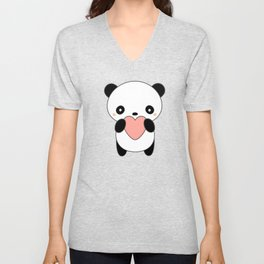 Kawaii Cute Panda Heart Unisex V-Neck