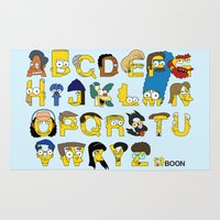 simpsons Area & Throw Rugs featuring Simpsons Alphabet by Mike Boon