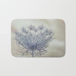 Vintage Wildflower Botanical Queen Anne's Lace in Blue Bath Mat