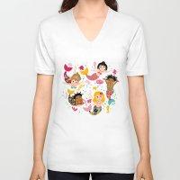 mermaids V-neck T-shirts featuring Mermaids by Helene Michau