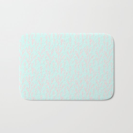 Merry christmas- abstract winter pattern with pink branch and snow Bath Mat