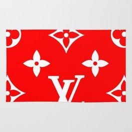 Supreme LV Red Logo Rug