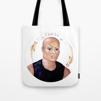 stargate Tote Bags featuring Stargate - Teal'c by Sunol Golden