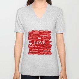 Love is Red & White Unisex V-Neck