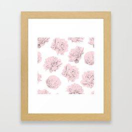 Simply Roses in Pink Flamingo Pink on White Framed Art Print