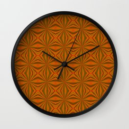 Autumnal Leaves Red Green and Amber Pattern Wall Clock