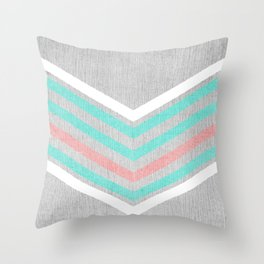 Teal, Pink and White Chevron on Silver Grey Wood Throw Pillow