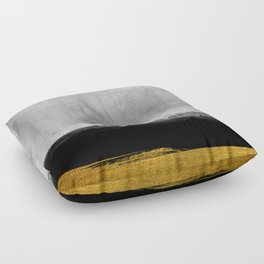 Black and Gold grunge stripes on modern grey concrete abstract backround I- Stripe- Striped Floor Pillow