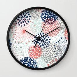 Floral Print - Coral Pink, Pale Aqua Blue, Gray, Navy Wall Clock