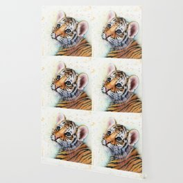 Tiger Cub Watercolor Wallpaper
