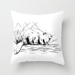 Beaver Yawn Throw Pillow