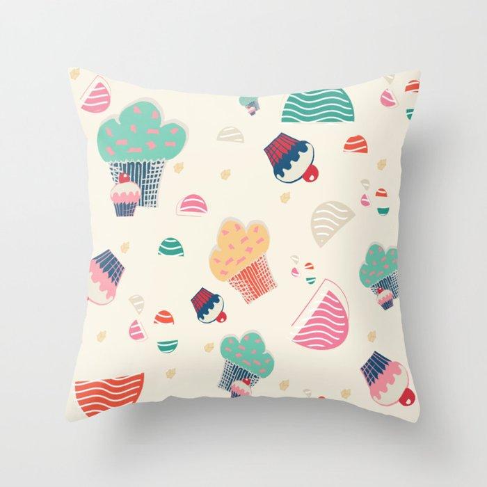 Cupcake cream Throw Pillow