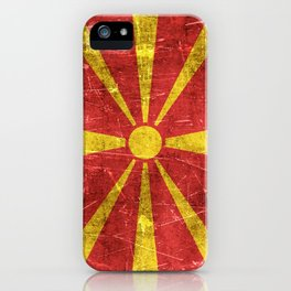 Vintage Aged and Scratched Macedonian Flag iPhone Case