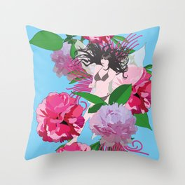 Peony & Fairy Throw Pillow