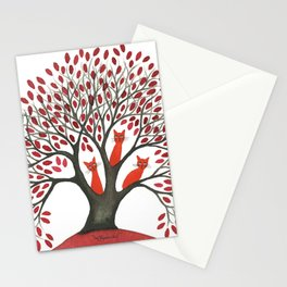 Red Oak Whimsical Cats in Tree Stationery Cards