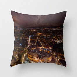 Nightscape in Rome Throw Pillow