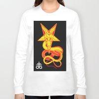 pentagram Long Sleeve T-shirts featuring Pentagram Goathead by T Alexander
