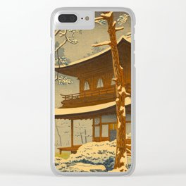 Japanese Woodblock Print Vintage Asian Art Colorful woodblock prints Winter Snow Shrine Clear iPhone Case