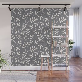 Assorted Leaf Silhouettes Cream on Grey Ptn Wall Mural