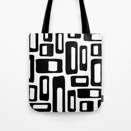 Retro Mid Century Modern Abstract Pattern 336 Black and White Tote Bag