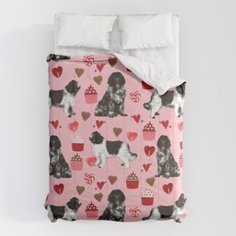 Newfoundland valentines day pink hearts love dog breeds unique gifts for pet owners Comforters