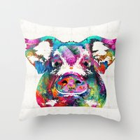Throw Pillows featuring Colorful Pig Art - Squeal Appeal - By Sharon Cummings by Sharon Cummings