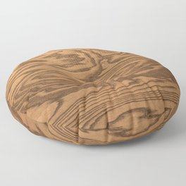Wood 5, heavily grained wood Horizontal grain Floor Pillow